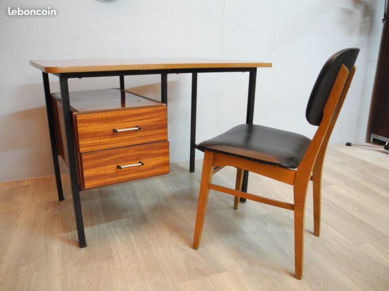 Ancien bureau bois et métal a s s atelier